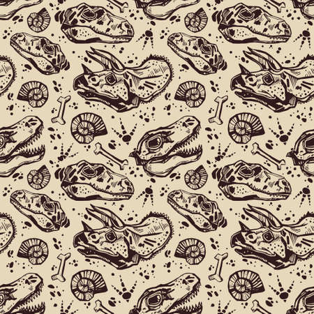 pteranodon: Sketchy fossil seamless pattern with dinosaur bones. Tile in retro 1980s and early 1990s style for textiles and fabrics, upholstery, wrapping paper and wallpapers. Vector illustration.