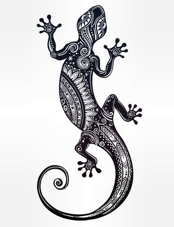 Ornate Gecko lizard in in tattoo style. Isolated vector illustration. Ideal for coloring page, shirt design effect,  and decoration. Illustration