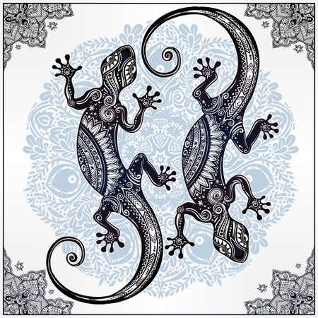 Adornado Lagarto del Gecko en un estilo del tatuaje con la mandala boho con hermoso marco. ilustración del vector. Ideal para Colorear, efecto de diseño de la camisa, y la decoración. con motivos de verano.