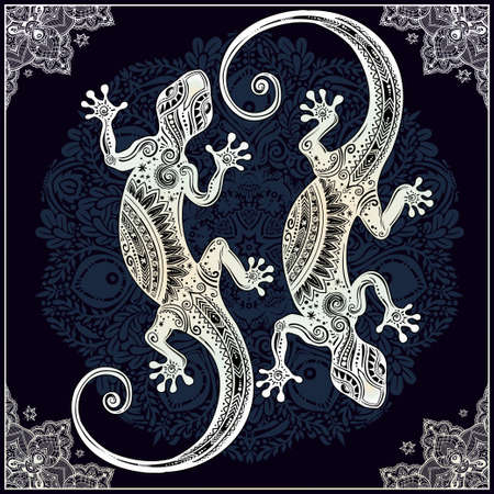 salamander: Ornate Gecko lizard in in tattoo style with boho mandala with beautiful frame. Isolated vector illustration. Ideal for coloring page, shirt design effect,  and decoration. Summer motif.