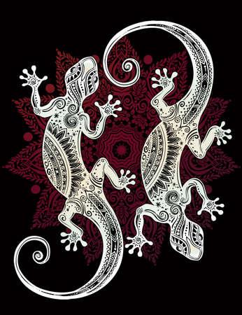 salamandra: Adornado Lagarto del Gecko en un estilo del tatuaje con la mandala boho. ilustración del vector. Ideal para Colorear, efecto de diseño de la camisa, y la decoración. con motivos de verano.