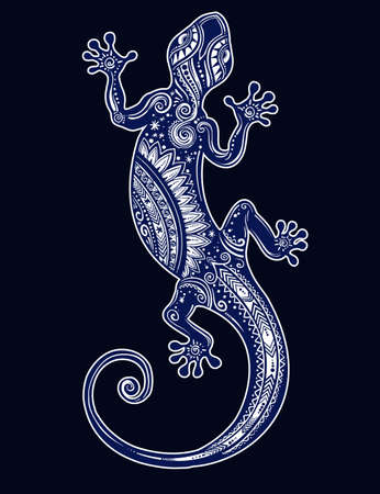 Ornate Gecko lizard in in tattoo style. Isolated vector illustration. Ideal for coloring page, shirt design effect,   and decoration.