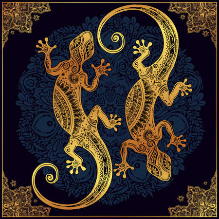 salamandra: Adornado Lagarto del Gecko en un estilo del tatuaje con la mandala boho con hermoso marco. ilustración del vector. Ideal para Colorear, efecto de diseño de la camisa, y la decoración. con motivos de verano.