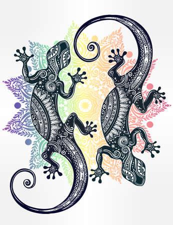 Adornado Lagarto del Gecko en un estilo del tatuaje con la mandala boho. ilustración del vector. Ideal para Colorear, efecto de diseño de la camisa, y la decoración. con motivos de verano.
