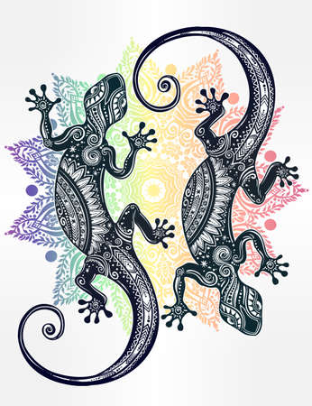 salamander: Ornate Gecko lizard in in tattoo style with boho mandala. Isolated vector illustration. Ideal for coloring page, shirt design effect, and decoration. Summer motif.