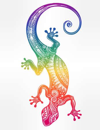 salamandra: Adornado Lagarto del Gecko en un estilo del tatuaje. ilustración del vector. Ideal para Colorear, efecto del diseño de la camisa y la decoración.