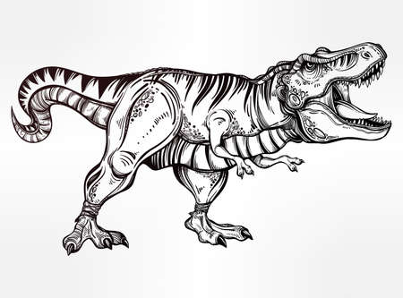 Tyrannosaurus Dinosaur. Highly detailed T-Rex. Isolated vector illustration. Ideal for coloring page, shirt design effect, logo, tattoo and decoration.
