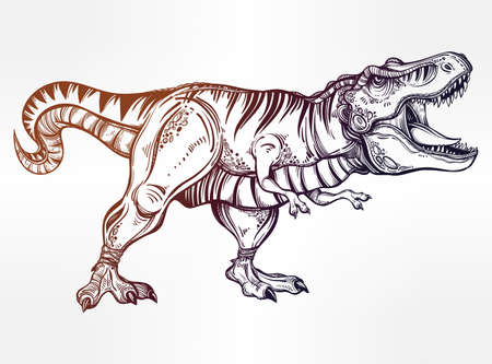 Tyrannosaurus Dinosaur. Highly detailed T-Rex. Isolated vector illustration. Ideal for coloring page, shirt design effect, tattoo and decoration. Illustration