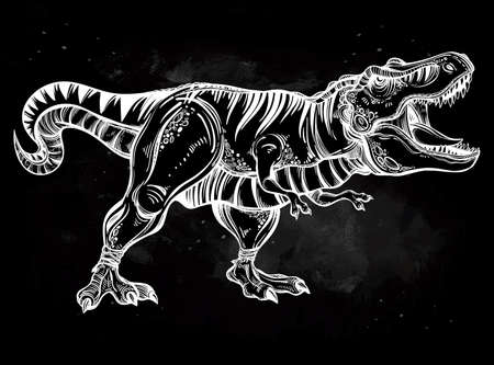 tyrannosaurus: Tyrannosaurus Dinosaur. Highly detailed T-Rex. Isolated vector illustration. Ideal for coloring page, shirt design effect,  tattoo and decoration.