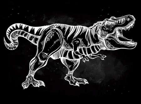 tiranosaurio rex: Tyrannosaurus. Muy detallada de T-Rex. ilustración del vector. Ideal para Colorear, efecto de diseño de la camisa, tatuaje y la decoración.