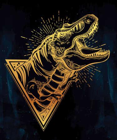 tiranosaurio rex: la cabeza del dinosaurio Tyrannosaurus. Muy detallada de T-Rex haciendo ruido. ilustración del vector. Ideal para Colorear, efecto de diseño de la camisa, tatuaje y la decoración.