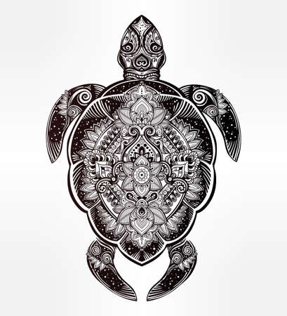 Ornate turtle in tattoo style. Isolated vector illustration. Ideal for coloring page, shirt design effect,  tattoo and decoration. Illustration