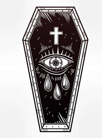 coffin: Decorative coffin in flash tattoo style with cross. Vector illustration isolated. Pop art design, adult coloring book page, spooky mystic magic symbol for your use. Vintage and 1990s inspired art.