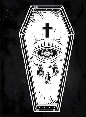 trumna: Decorative coffin in flash tattoo style with cross. Vector illustration isolated. Pop art design, adult coloring book page, spooky mystic magic symbol for your use. Vintage and 1990s inspired art.