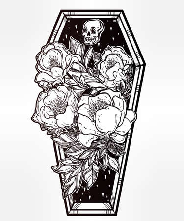 Decorative coffin in flash tattoo style with dark romantic flowers and human skull. Vector illustration isolated. Adult coloring book page, spooky mystic magic symbol for your use. Retro inspired art. Illustration