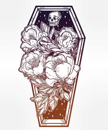 Dekoracyjne trumna lampa błyskowa tatuaż stylu z ciemnymi romantycznych kwiatów i ludzkiej czaszki. Ilustracja wektora samodzielnie. Dorosły kolorowania strona, Spooky mistyczna magia symbol użytku. Retro inspirowane sztuką. Ilustracja