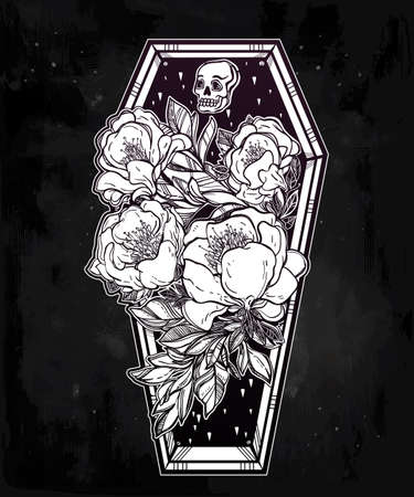 retro dark: Decorative coffin in flash tattoo style with dark romantic flowers and human skull. Vector illustration isolated. Adult coloring book page, spooky mystic magic symbol for your use. Retro inspired art. Illustration