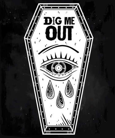 out of use: Decorative coffin in flash tattoo style with evil eye. Dig Me Out slogan. Vector illustration isolated. Adult coloring book page, spooky pop magic symbol for your use. Vintage and 1990s inspired art.