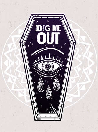 evil eye: Decorative coffin in flash tattoo style with evil eye. Dig Me Out slogan. Vector illustration isolated. Adult coloring book page, spooky pop magic symbol for your use. Vintage and 1990s inspired art.