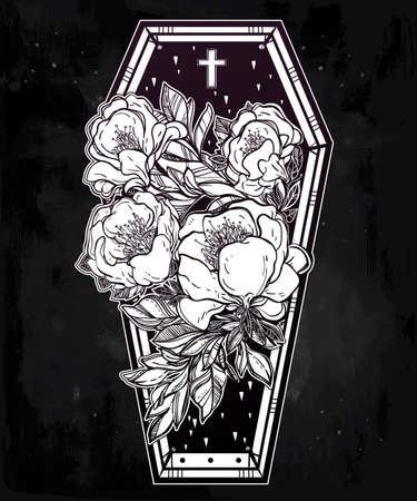 retro dark: Decorative coffin in flash tattoo style with dark romantic wild rose flowers and cross. Vector illustration isolated. Adult coloring book page, mystic magic symbol for your use. Retro inspired art. Illustration