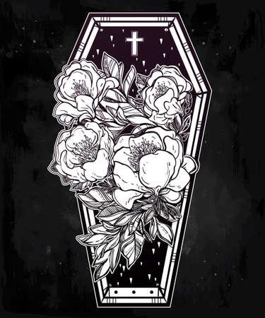 Dekoracyjne trumna lampa błyskowa tatuaż stylu romantycznym z ciemnego dzikiej róży kwiaty i krzyż. Ilustracja wektora samodzielnie. Dorosły kolorowania stron, mistyczna magia symbol użytku. Retro inspirowane sztuką. Ilustracja