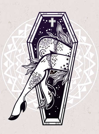 flames vector: Decorative coffin in flash tattoo style with sexy zombie lady legs and flames. Vector illustration isolated. Pop art design, spooky mystic magic symbol for your use. Vintage and 1990s inspired art.