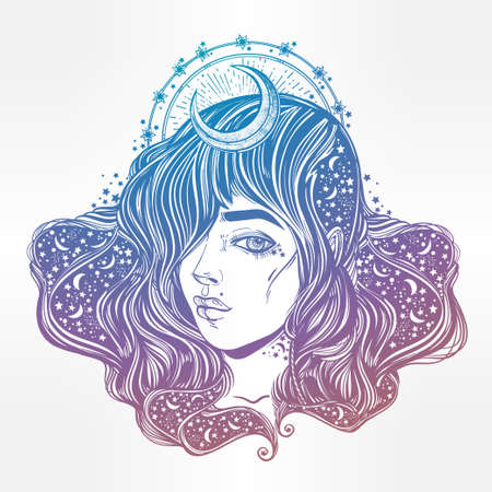 occultism: The face of a girl with the sky full of stars in her hair. Female portrait or magic night fairy. Isolated vector illustration. Fantasy, spirituality, occultism, tattoo, coloring books. Trendy print. Illustration