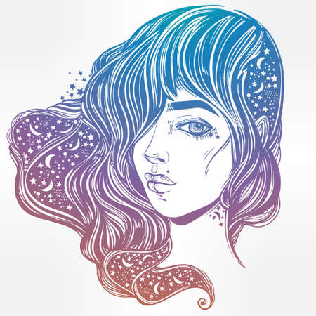 The face of a girl with the sky full of stars in her hair. Female portrait or magic night fairy. Isolated vector illustration. Fantasy, spirituality, occultism, tattoo, coloring books. Trendy print. Illustration