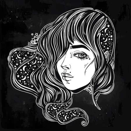 noche y luna: La cara de una niña con el cielo lleno de estrellas en el pelo. Retrato femenino o hada mágica noche. ilustración del vector. libros de fantasía, espiritualidad, ocultismo, tatuaje, colorantes. impresión de moda.