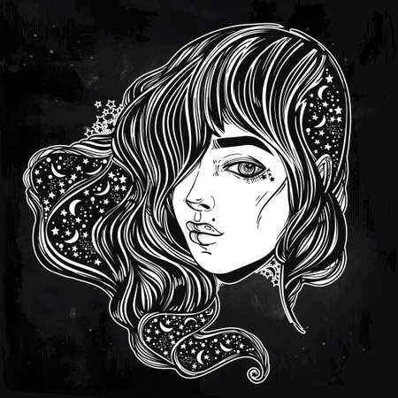 night moon: The face of a girl with the sky full of stars in her hair. Female portrait or magic night fairy. Isolated vector illustration. Fantasy, spirituality, occultism, tattoo, coloring books. Trendy print. Illustration