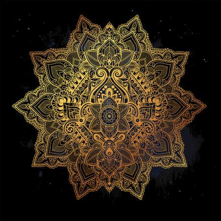 Beautiful Bohemian floral mandala ornament. Folk henna tattoo art. Vector ethnic stylized Lotus flower, Indian paisley. Hand drawn illustration. Invitation element. Zen and magic symbol.