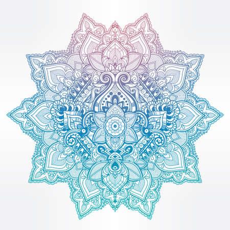 bohemian: Beautiful Bohemian floral mandala ornament. Folk henna tattoo art. Vector ethnic stylized Lotus flower, Indian paisley. Hand drawn illustration. Invitation element. Zen and magic symbol.