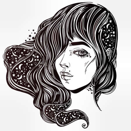 tattoo girl: The face of a girl with the sky full of stars in her hair. Female portrait or magic night fairy. Isolated vector illustration. Fantasy, spirituality, occultism, tattoo, coloring books. Trendy print. Illustration