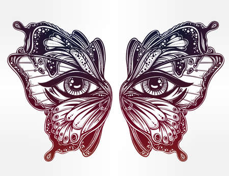 spiritual woman: Beautiful butterfly wings mask with eyes in retro flash tattoo style. Fantasy, spirituality, occultism, tattoo art, coloring books. Isolated vector illustration. Trendy print. butterfly wings Illustration