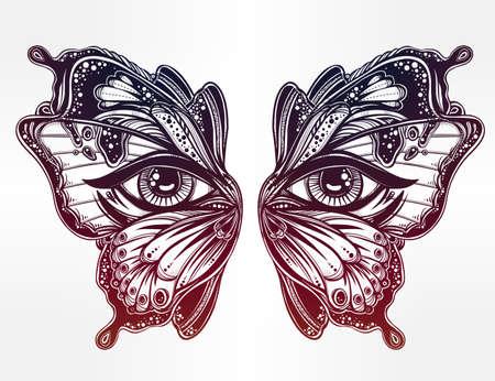 femme papillon: Belles ailes de papillon masque aux yeux dans le style flash tatouage rétro. livres Fantaisie, spiritualité, occultisme, art du tatouage, colorants. Isolated illustration vectorielle. print Trendy. ailes de papillon