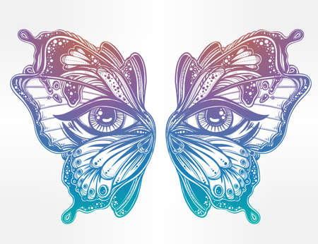 color tribal tattoo: Beautiful butterfly wings mask with eyes in retro flash tattoo style. Fantasy, spirituality, occultism, tattoo art, coloring books. Isolated vector illustration. Trendy print. butterfly wings Illustration