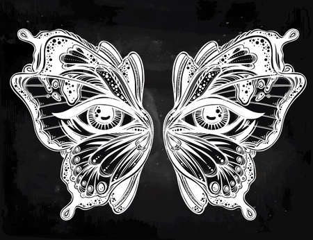 occultism: Beautiful butterfly wings mask with eyes in retro flash tattoo style. Fantasy, spirituality, occultism, tattoo art, coloring books. Isolated vector illustration. Trendy print. butterfly wings Illustration