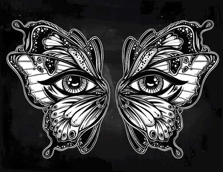 beautiful eyes: Beautiful butterfly wings mask with eyes in retro flash tattoo style. Fantasy, spirituality, occultism, tattoo art, coloring books. Isolated vector illustration. Trendy print. butterfly wings Illustration