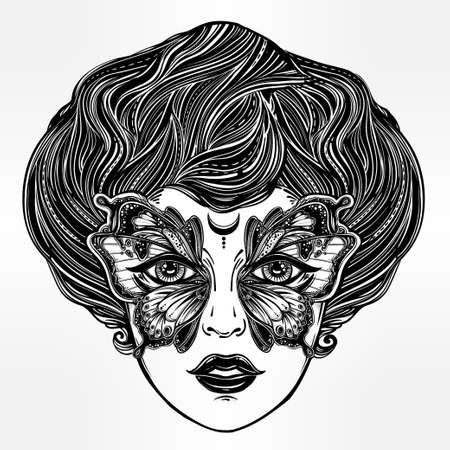hair mask: Beautiful portrait of the vintage girl with a butterfly mask in retro flash tattoo style. Fantasy, spirituality, occultism, tattoo art, coloring books. Isolated vector illustration. Trendy print. Illustration