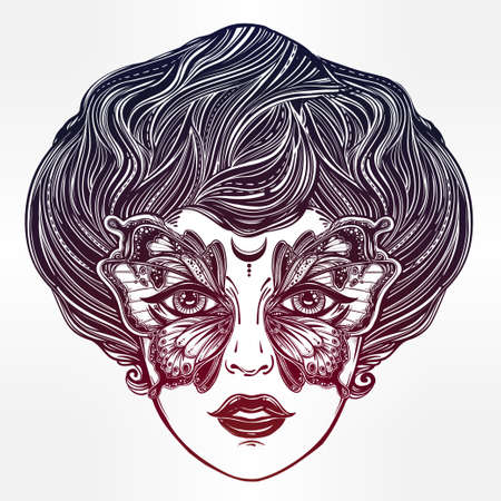 occultism: Beautiful portrait of the vintage girl with a butterfly mask in retro flash tattoo style. Fantasy, spirituality, occultism, tattoo art, coloring books. Isolated vector illustration. Trendy print. Illustration