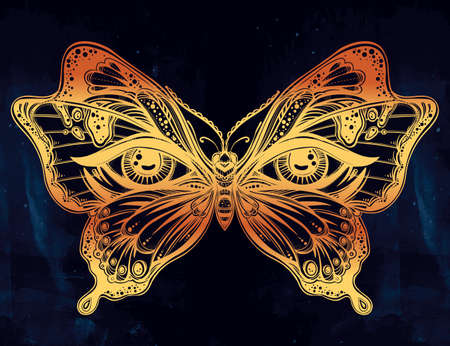beautiful eyes: Beautiful butterfly wings with human eyes in retro flash tattoo style. Fantasy, spirituality, occultism, tattoo art, coloring books. Isolated vector illustration. Trendy print. butterfly wings
