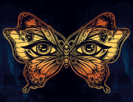 occultism: Beautiful butterfly wings with human eyes in retro flash tattoo style. Fantasy, spirituality, occultism, tattoo art, coloring books. Isolated vector illustration. Trendy print. butterfly wings