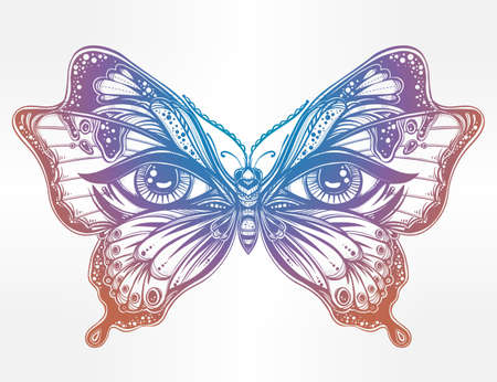 butterfly tattoo design: Beautiful butterfly wings with human eyes in retro flash tattoo style. Fantasy, spirituality, occultism, tattoo art, coloring books. Isolated vector illustration. Trendy print. butterfly wings