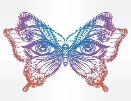 butterfly: Cánh bướm xinh đẹp với đôi mắt của con người trong phong cách retro retro xăm. Ảo, tâm linh, huyền bí, nghệ thuật xăm, sách màu. Hình nền vector đơn. In hợp thời. Cánh bướm
