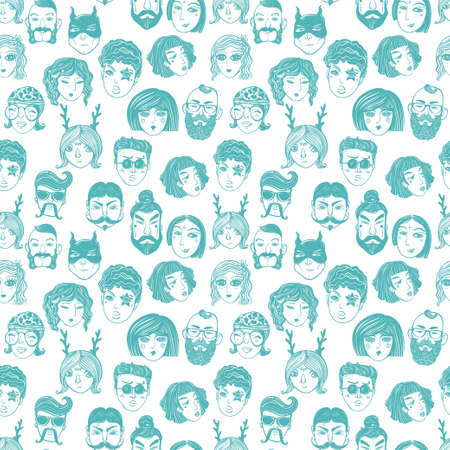 wallpaper doodle: Doodle style seamless pattern of a diverse people faces from different cultural and ethnic backgrounds. Trendy vector wallpaper.