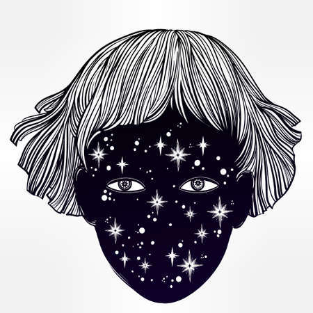 extraordinary: Hand drawn beautiful portriat of the extraordinary girl from outer space. her face is made of stars. Fantasy, occultism, tattoo art. Isolated vector illustration. Trendy T-shirt print. Illustration