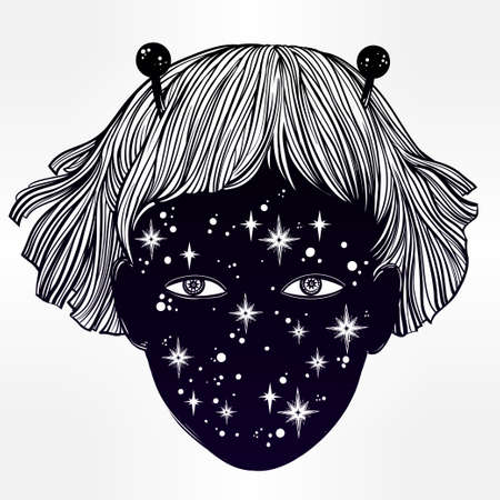 extraordinary: Hand drawn beautiful portriat of the extraordinary alien girl from outer space. UFO, sci-fi, tattoo art. Isolated vector illustration. Trendy T-shirt print.