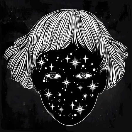 star tattoo: Hand drawn beautiful portriat of the extraordinary girl from outer space. her face is made of stars. Fantasy, occultism, tattoo art. Isolated vector illustration. Trendy T-shirt print. Illustration