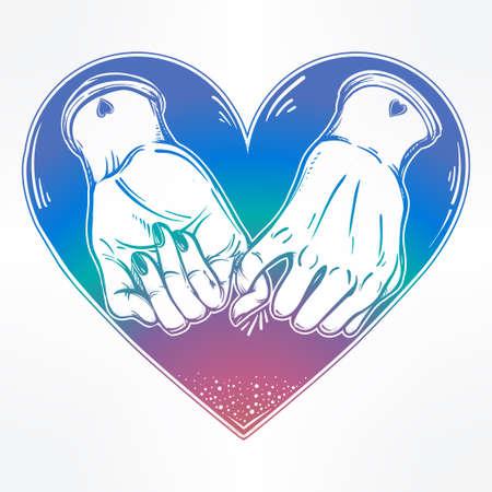 dedo meÑique: promesa de meñique, mano que sostiene en el fondo del corazón. aislado ilustración vectorial. diseño del tatuaje minimalista, moderno símbolo de la amistad para su uso.