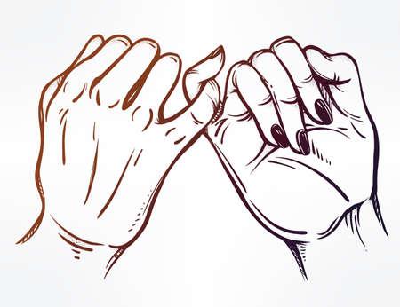 dedo meÑique: promesa de meñique, explotación de la mano. aislado ilustración vectorial. diseño del tatuaje, de moda símbolo de la amistad para su uso.